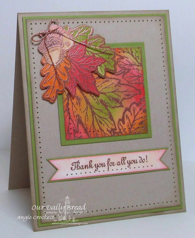 ODBD Autumn Blessings, ODBD Leaves Background, ODBD Custom Leaves and Acorn Dies, Serve The Lord, Card Designer Angie Crockett