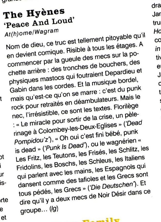 Bertrand Cantat, ecouter des musique gratuite, la dernière minute, musique gratuite gratuite, Noir Désir, RifRaf, single ladies, The Hyènes,