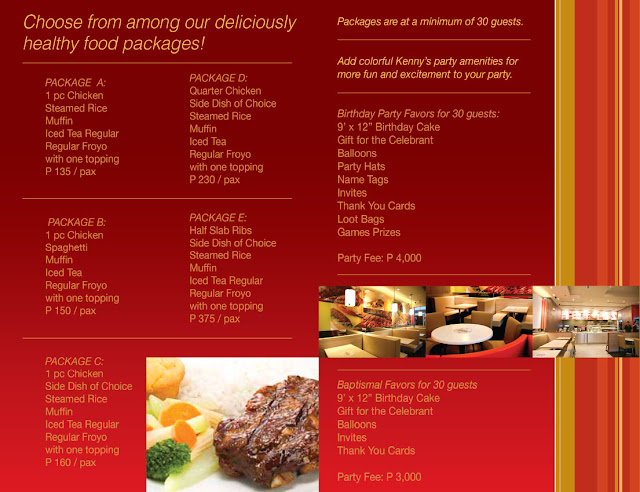 Kenny Rogers Party Food Packages