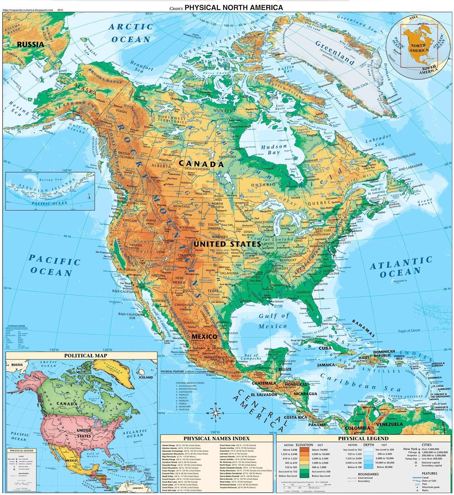 Mapa De America Del Norte En Espaol