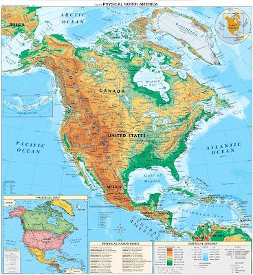 Mapa Fisico de America del Norte (Norteamerica)