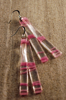 Pink and Iridescent Clear Glass Hook Earrings