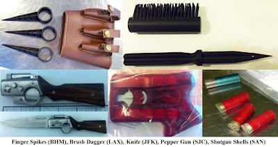 Finger knives, brush dagger, gun shaped knife, mace gun, shotgun shells.