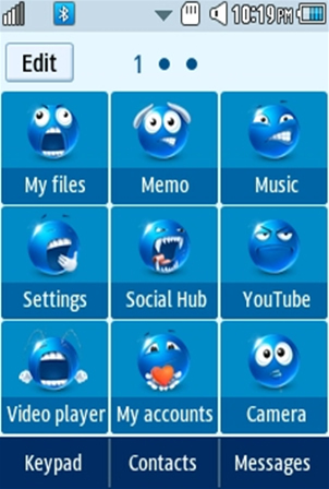 Other Cute, Blue Smiley Samsung Corby 2 Theme Menu