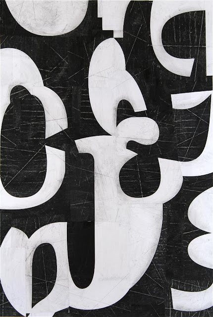 Fusion Series #3330 2013 collage by Cecil Touchon, collage on paper, typographic abstraction