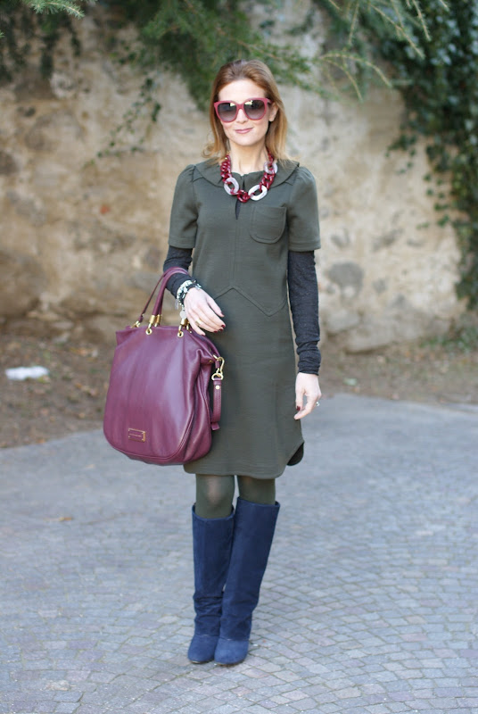 Marc by Marc Jacobs dress, Marc by Marc Jacobs too hot to handle tote, Asos fold over boots