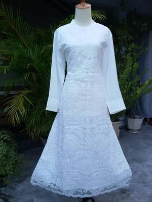 Baju Gamis Putih Brokat Mewah Untuk Pesta