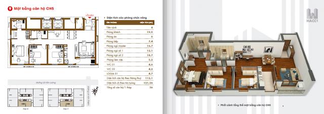 mặt bằng thiết kế căn hộ ch5 diện tích 121.26m2 chung cư hacc1