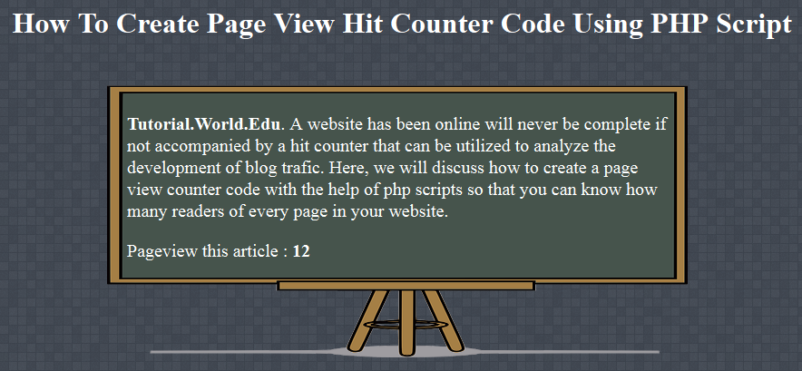 How To Create Page View Hit Counter Code Using PHP Script
