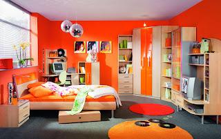 habitación adolescente naranja