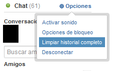 Limpiar historial Chat tuenti