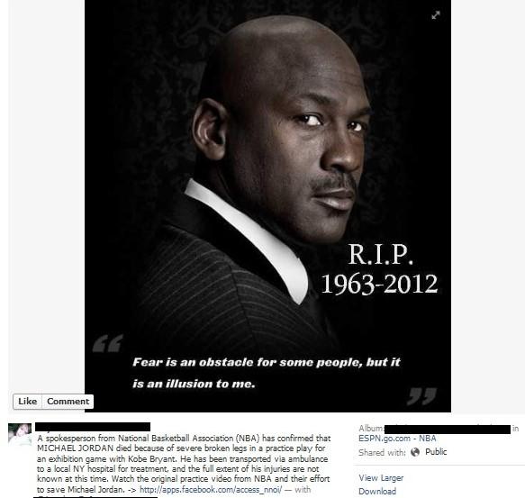 Michael Jordan is dead 2012.