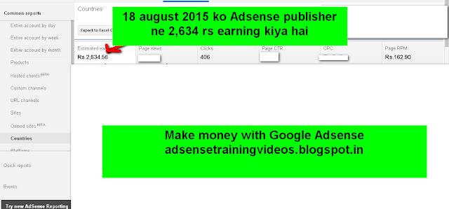 Google Adsense publisher ne 18 August 2015 ko 2634 Rs earning kiya hai-see screenshot