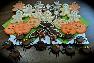 Galletas de Halloween araña calabaza esqueleto momias fantasmas