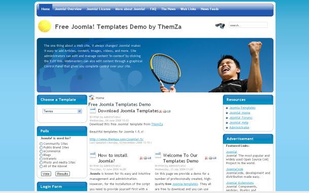 Free Tennis Club Blue Joomla Theme Template
