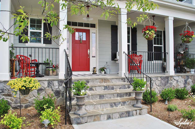 One of my favorite things about their house is the exterior porch lights that they selected! She scoured the Internet for some reasonably-priced fluted ... & Sophia\u0027s: Farmhouse Style Front Porch with Pops of Red Pezcame.Com