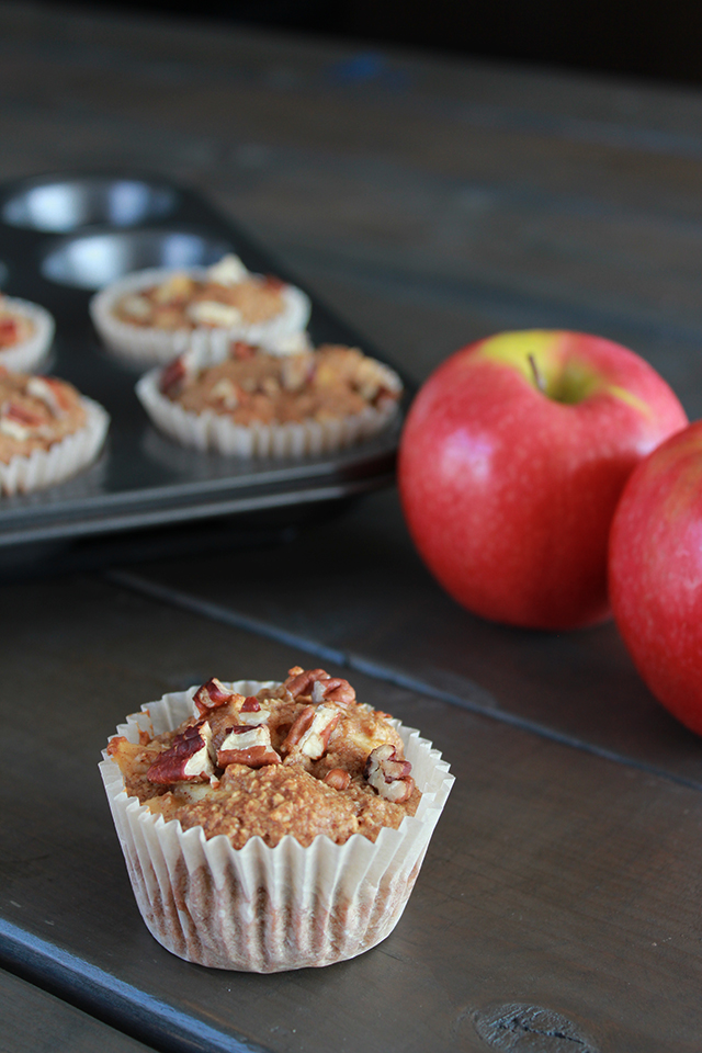 Easy and healthy apple cinnamon oatmeal muffins with pecan topping.