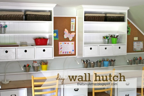 How I Built A Wall Hutch Above My Kids Built In Desks In The Playroom.