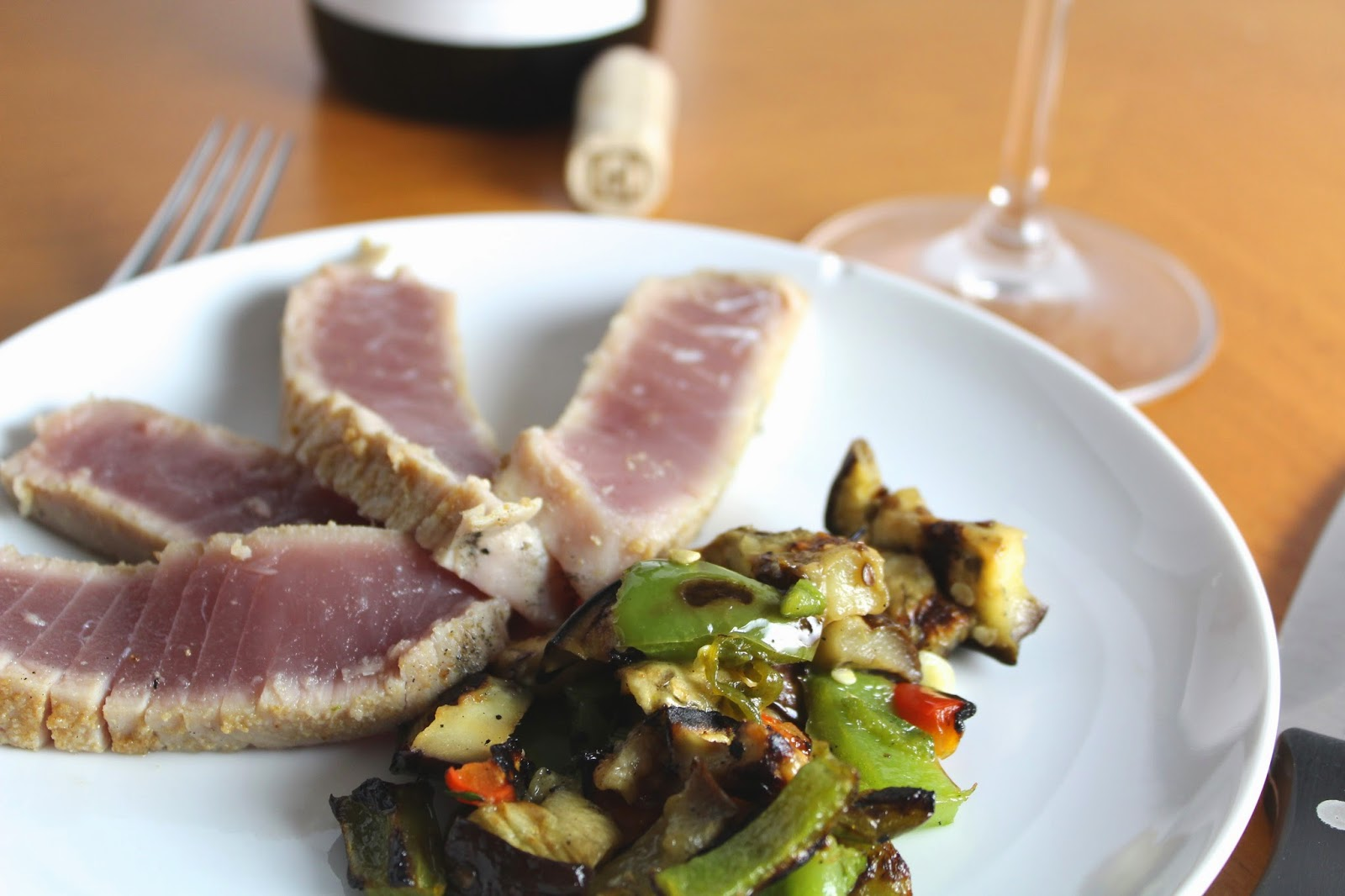 Grilled Tuna with Eggplant and Peppers. Cooking Chat #recipe.