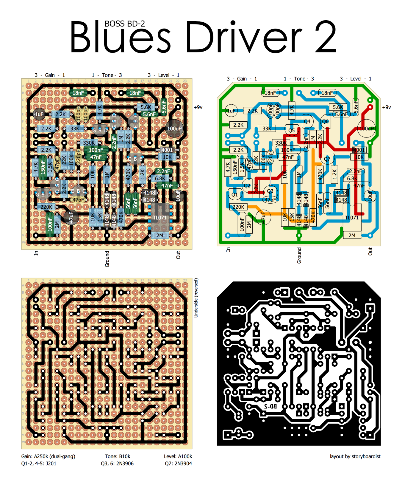 Perf and PCB Effects Layouts: Boss Blues Driver 2Perf and PCB Effects Layouts - blogger