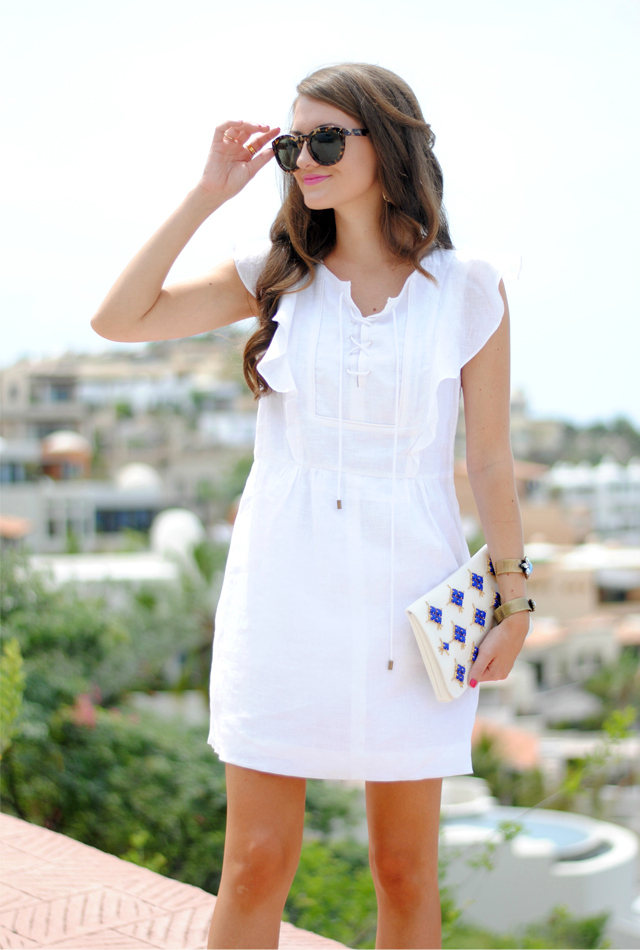 White linen dress from J.Crew