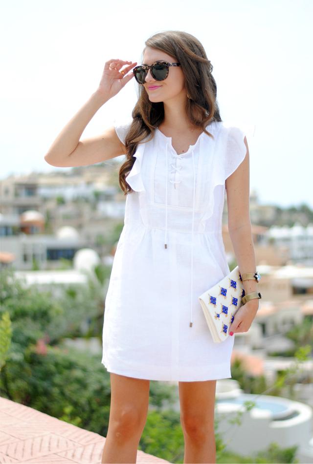 White linen dress from J.Crew