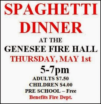 5-1 Spaghetti Dinner At Genesee Fire Hall