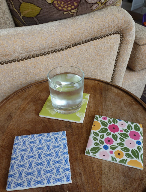 Ceramic tile and paper coasters
