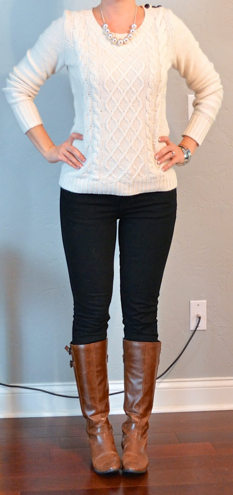 Outfit post cream cable knit sweater black skinny jeans brown riding boots | Outfit Posts