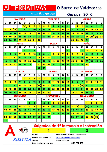 O Barco. Calendario gardas 2016