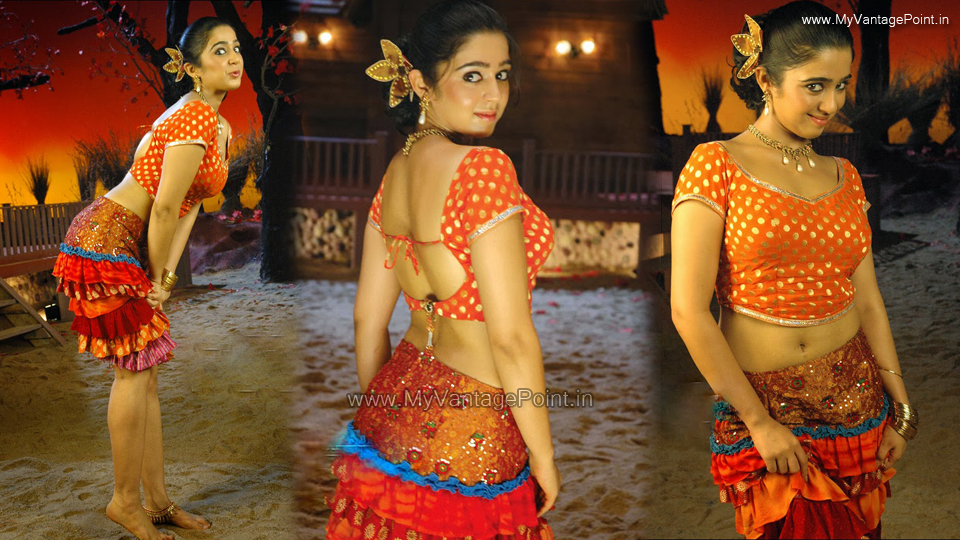 Charmi Kaur hot back, Charmi Kaur backshow, Charmi Kaur spicy navel photos, Charmi Kaur in skirt, Charmi Kaur in orange sexy dress, Charmi Kaur hot dance stills