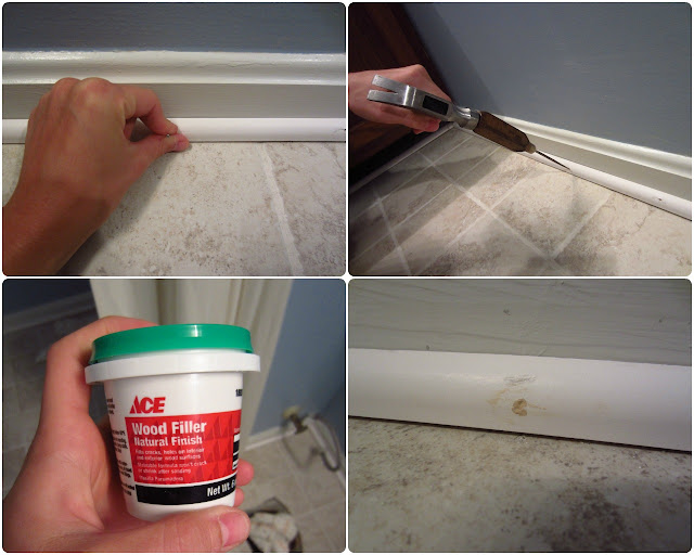 Simply diy 2 bathroom floor part 3 done for Wood floor hole filler