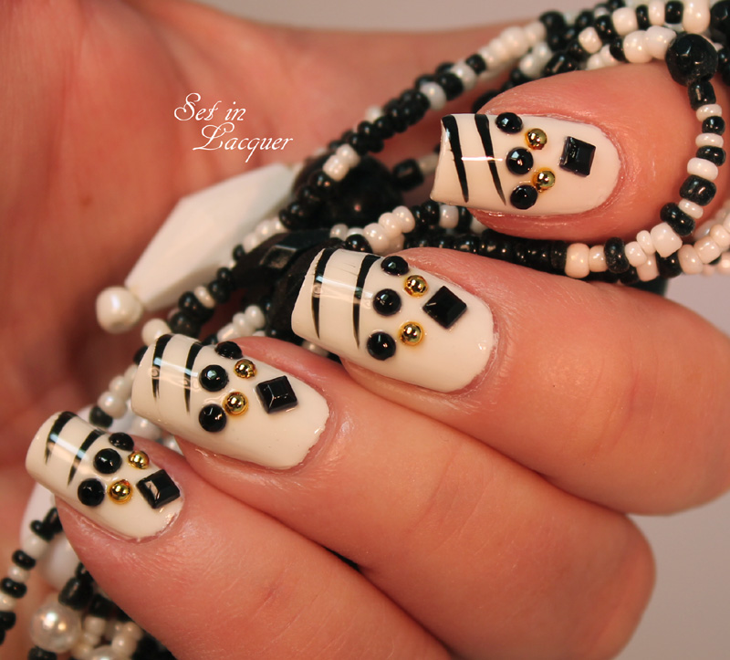 Nail art using Salon Perfect Studs and Stones Nail Art Kit