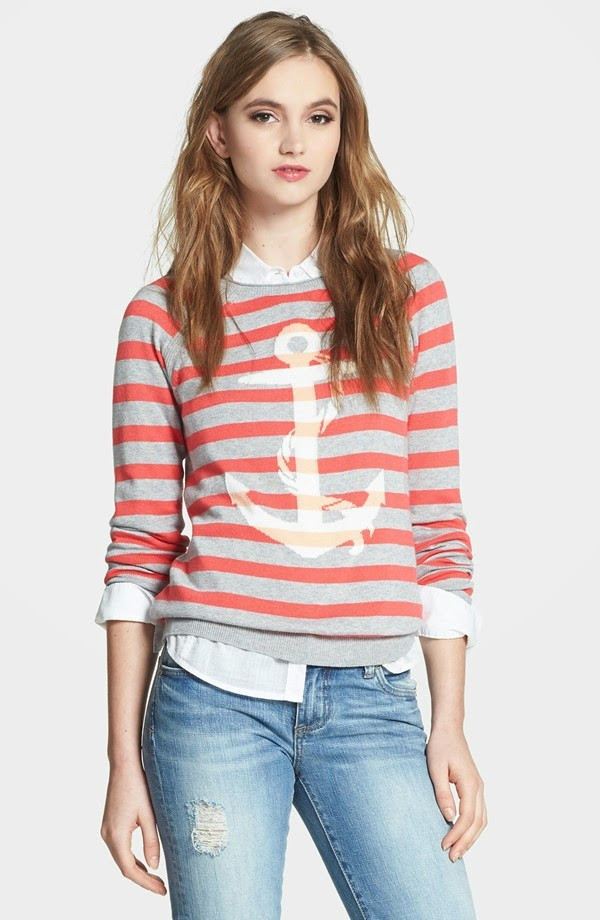 Nautical by Nature | Nautical Sweaters Caslon Raglan Sleeve Slub Stripe Sweater