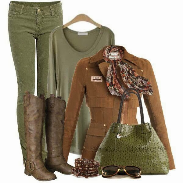 Brown jacket, blouse, hand bag and long boots combination for fall