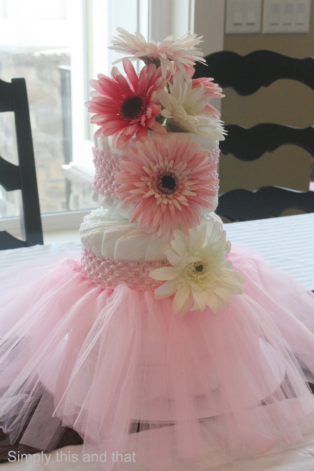 diaper cake with tulle skirt