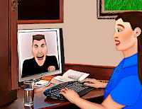 Hate on the internet - cartoon me at PC confronted by a hateful man frothing at the mouth