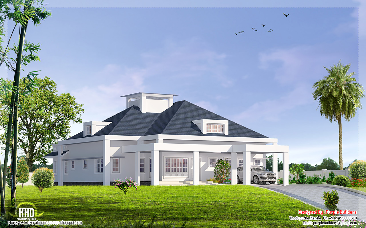 3000 single floor bungalow design kerala home for Single storey bungalow design
