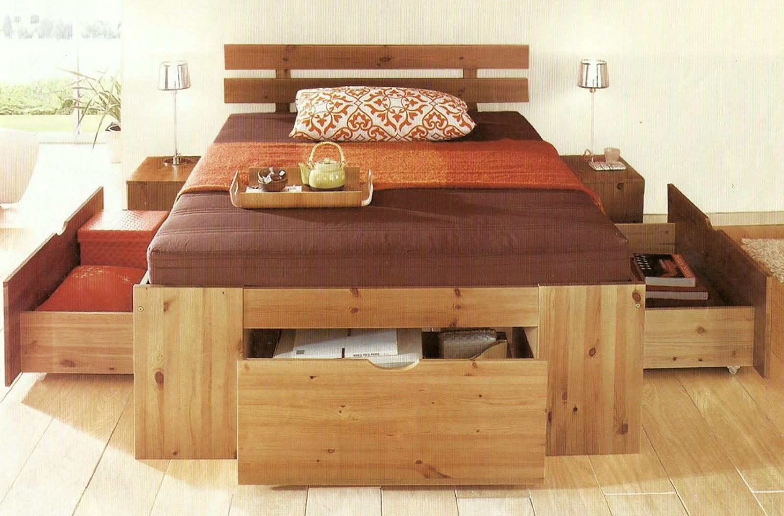 Camas tarimas de madera con cajoneras auxiliares for Tarimas de madera para cama