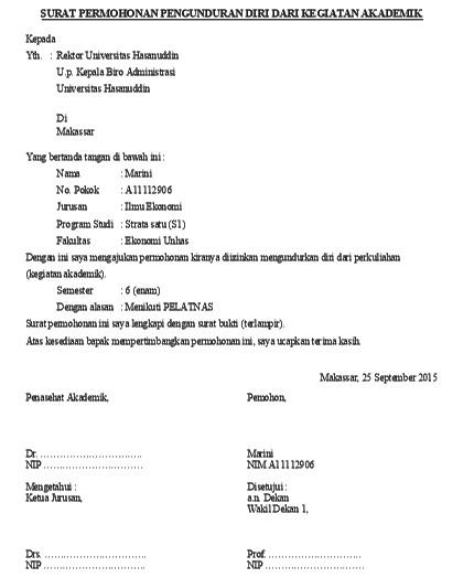 Contoh Surat Permohonan Pengunduran Diri Dari Kegiatan Akademik