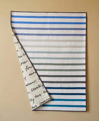Blue and Gray Solid Striped Baby Quilt
