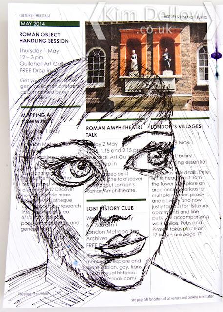 Scribbled face in pen