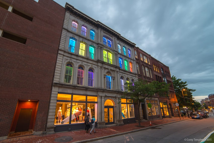 Portland, Maine June 2015 Casco National Bank building in the Old Port 195 Middle Street window lights at night photo by Corey Templeton