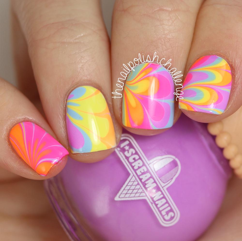 Neon Rainbow Watermarble Nail Art With I Scream Nails The Nail