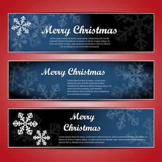 雪の結晶のクリスマスバナー christmas snowflake banners イラスト素材