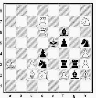 Problema de mate en 2 compuesto por R. Candela Sanz (2º premio, Problemas SEPA, 1964)