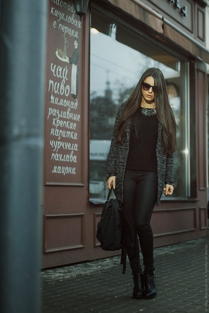 all black outfit with silver accessories