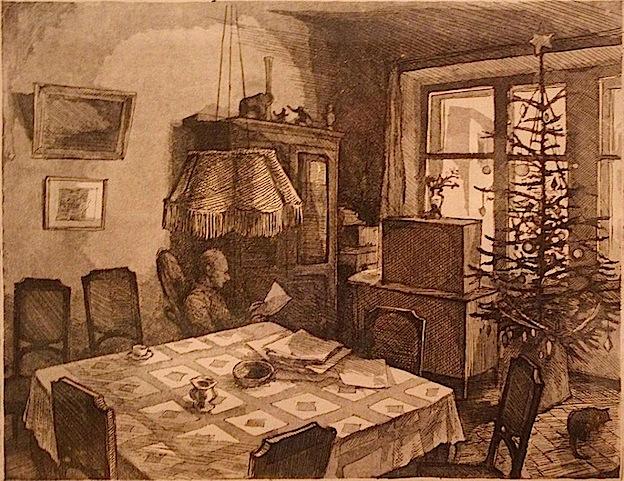 Н. В. Родионов. Интерьер с новогодней елкой. 1982