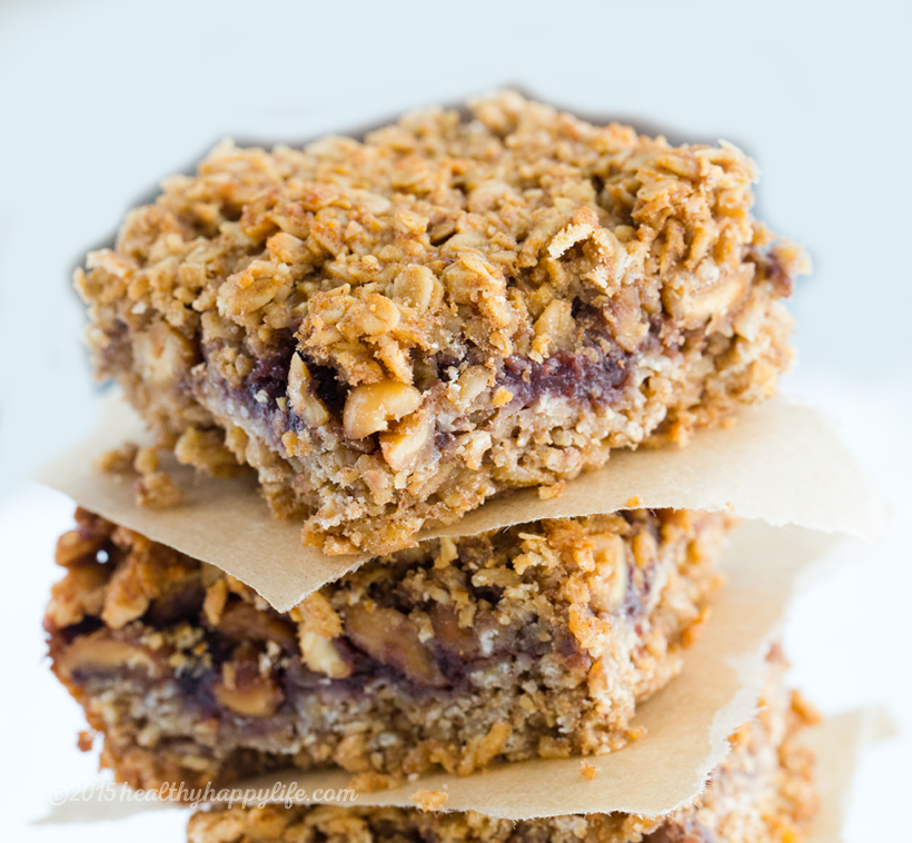 Peanut and Jam Granola Squares