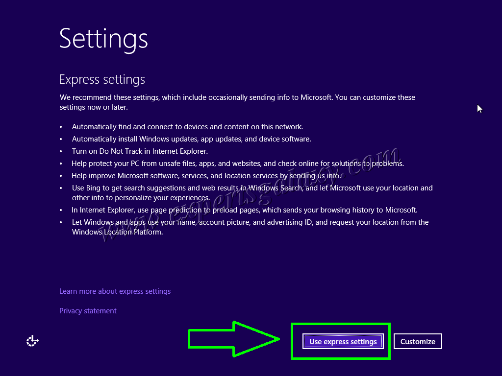 Windows 10 Express Settings Option